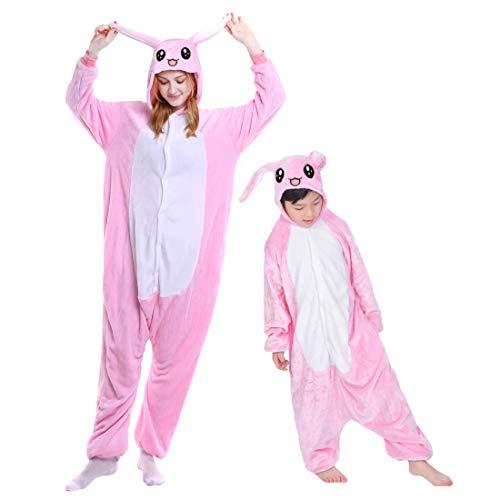 DEBAIJIA Pijama Animal para Niños Niñas Disfrace Franela Traje del Anime Invierno Calentito Pyjamas Navidad Onsie Conejo Rosa - 115