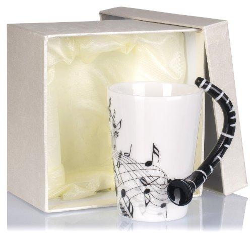 Grinscard Keramiktasse mit Motiv Henkel - Weiß & Bedruckt Klarinette Design 0,2l - Tee & Kaffee Tasse zum Verschenken