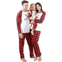 URMAGIC Ropa para Padres e Hijos Conjuntos de Ropa Familiar a Juego de Navidad Patrón de Renos de Feliz Navidad Camiseta de Manga Larga Pantalones a Cuadros Rojos 2 Piezas Conjuntos de Pijamas