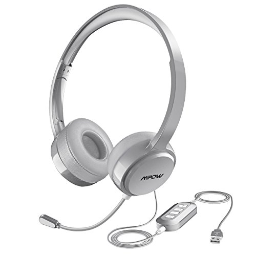Mpow PC Headset, Klinke Headset, USB Headset & 3.5mm Chat Headset,Stereo Sound,Computer Headset mit Mikrofon,Telefon Headset für Skype Teamspeak Mac PC Smartphone Tablet. (Silber)
