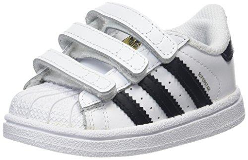 adidas - Superstar Cf I, Scarpine primi passi Unisex - Bimbi 0-24, Bianco (Footwear White/Core Black/Footwear White), 19 EU