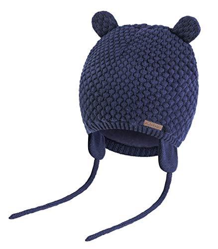 K.tchard Baby Jungen Mädchen Mütze Beanie Strickmütze Cap Kinder Wintermütze Cute Bear Hut, Gr.-3-7 Monate(36cm-41cm)/ Etikettengröße - Small ,Navy