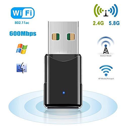 HANPURE Adattatore USB Scheda di Rete, Chiavetta WiFi 600 Mbps, WiFi USB Dual Band 2.4G / 5.8G,...