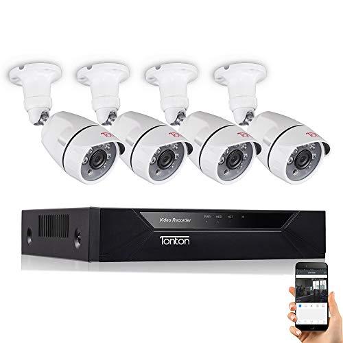 Sistema di sorveglianza di sicurezza CCTV Full HD 1080P Tonton 8CH, DVR 5-in-1 con telecamera a proiettile da esterno impermeabile esterna da 4 × 2,0 MP con rilevamento del volto.
