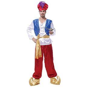 LYLLYL Cosplay de Magic Aladdin, Traje de Cosplay for Hombres, Fiesta de Disfraces de Halloween, Que Incluye Tops, Chalecos, Pantalones, Sombreros, Cinturones, Fundas for Zapatos (Size : M)