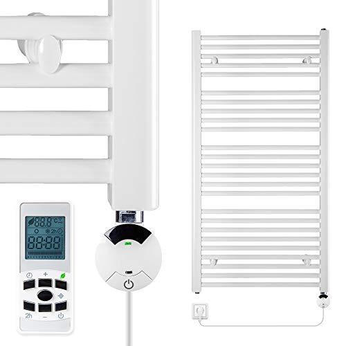 VEVASTO Badheizkörper elektrisch 1.142 x 600mm Handtuchheizkörper 600 Watt Handtuchtrockner weiß mit Smart Program Thermostat und Fernbedienung