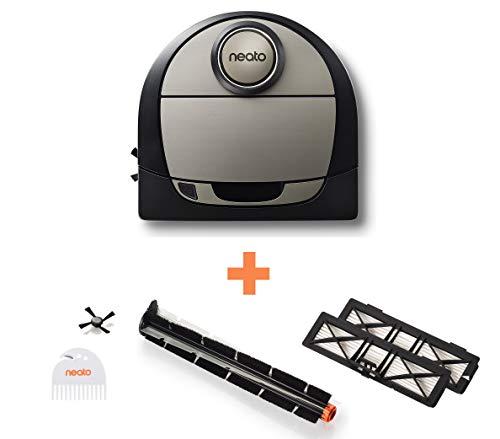 41zL9PqqCvL [Bon Plan Ecovacs] Neato Robotics D750 Aspirateur Robotique Premium Pack avec Accessoires Exclusifs pour Animaux Domestiques, Robot Aspirateur pour le Nettoyage des Coins, Tapis et Sols Durs, Compatible avec App/Alexa