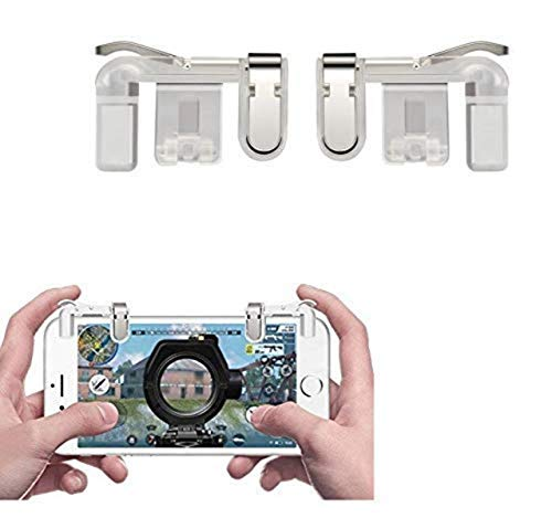 SellnShip® Metal PUBG Game Trigger Joystick Compatible with All Smartphones Sensitive Shoot aim Buttons L1 R1 Trigger Mobile Game Controller Transparent (Trigger)