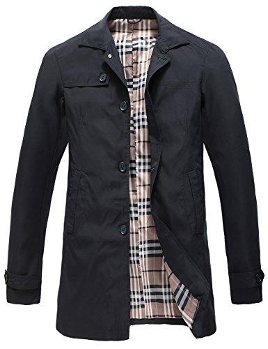 Pinkpum Man Trench Coat Cappotto Classico Primavera Estate Autunno Giacca in Poliestere Sottile Giacche Giacca Leggera da Uomo Marina Militare L
