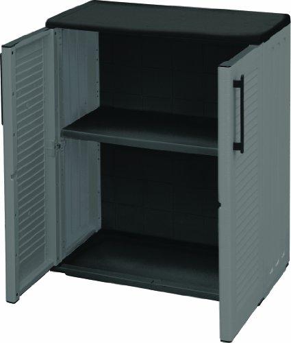 Art Plast E71/B Armadio basso da esterno, economico, 68 x 37 x 84 cm, grigio/nero