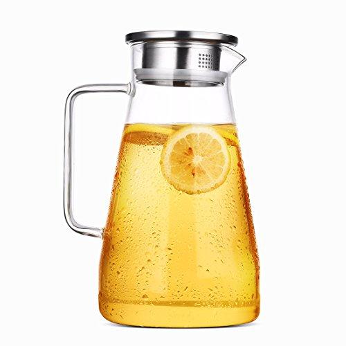 Censun, caraffa in vetro con coperchio in acciaio inox, per succo, acqua o tè freddo, realizzata a...