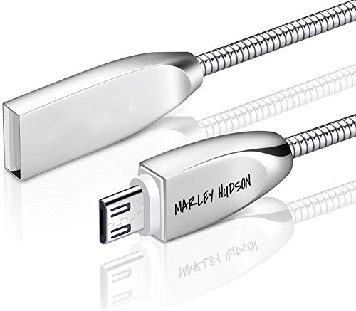 Marley Hudson Full Body Metal USB 3.0 Android Fast Charging Data Sync Cable with Stainless Steel Spring Shield Cord Compatible with Any Android Supported Devices - Silver