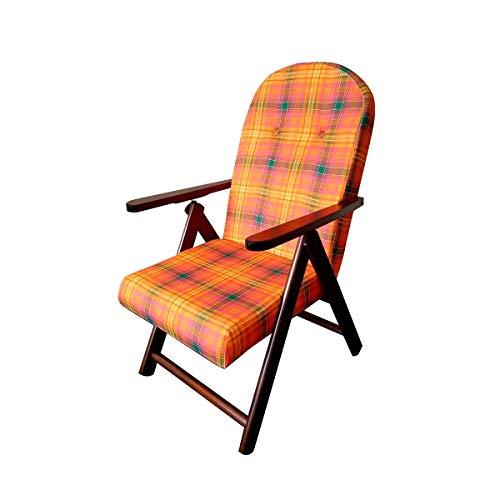 Totò Piccinni POLTRONA SEDIA SDRAIO CAMPANIA AMALFI in legno reclinabile 4 posizioni (Rosso/Arancione)
