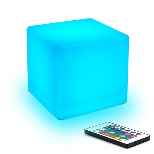 10cm Dimmbar LED Nachtlicht Kind mit Wiederaufladbare Batterie und Fernbedienung, Farbwechsel LED-Würfel-Licht Stimmungslicht Kinder-Lampe Tischlampe mit 16 RGB-Farben für Kindrzimmer, MEHRWEG