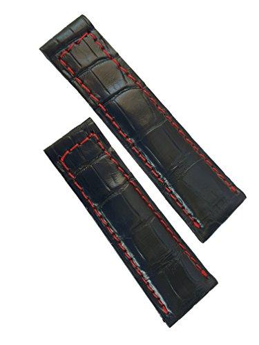 Cinturino spezzoni Vero alligatore nero cucito rosso compatibile per Rolex GMT/Daytona/Oyster 20mm