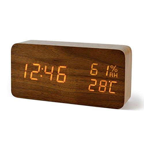 FiBiSonic Reloj Despertador Digital LED con Indicación de Temperatura y Humedad Control de Sonido Regalo para Padres Niños Amigos (Marrón Naranja)