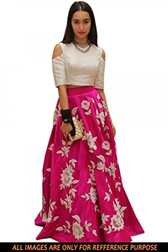 Muta Fashions Women's Raw Silk Gown (GOWN00052_18__Pink_Free Size)