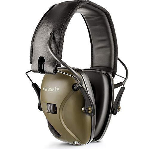 awesafe Elektronischer Schieß-Ohrenschützer, GF01 Lärmminderung Klangverstärkung Elektronischer Gehörschutz, Gehörschutz, NRR 22 dB, Ideal zum Schießen und Jagen (klassisches Grün)