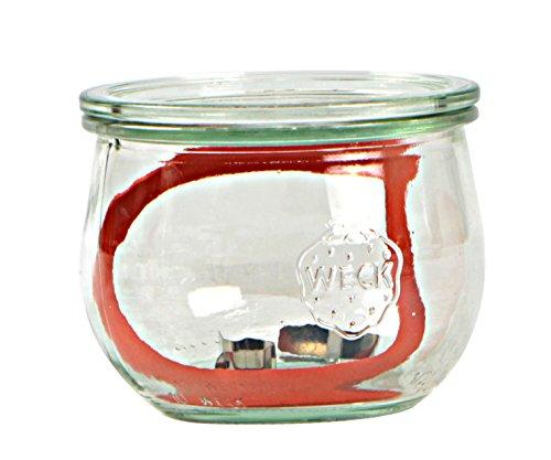 Weck Vasetto Tulipano 580 ml con Coperchio da 100 mm, Completi di Guarnizione e Clips, Scatola da 6 Pezzi, Vetro, Trasparente