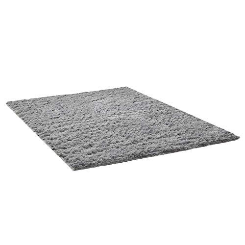 THEE Tappeto peloso morbido e antiscivolo da sala da pranzo e da camera da letto (80x120cm, Gray)