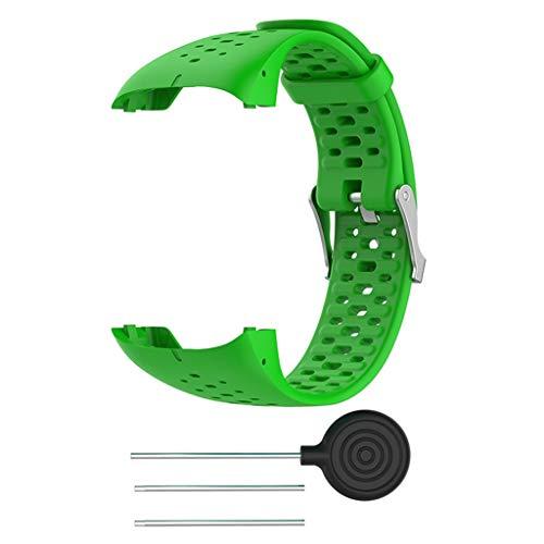 per Polar M400 M430 Bracciale, Colorful Soft Silicone Polso Regolabile Cinturino di Ricambio Sport per Polar M400 M430 SmartWatch,Donna Uomo, Verde