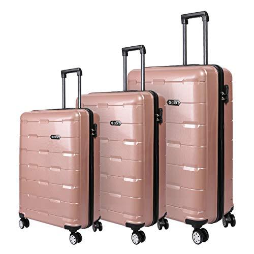 Set valigie da viaggio in Polipropilene - Trolley Rigidi e Leggeri con 4 Ruote - 55x40x22 Bagaglio a...
