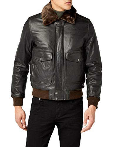 Schott Nyc - LC5331X, Giacca in pelle da uomo, Marron (Anthracite Brown), XX-Large