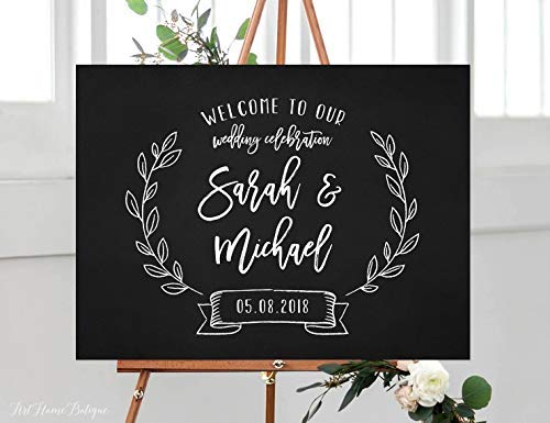 Bair89Pulla - Lavagna con Scritta Welcome to Our Wedding Sign Floral Horizontal Landscape Wedding...