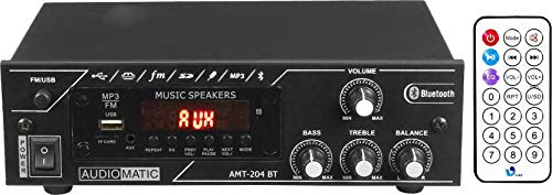 AudioMatic 4 Way Mini DJ Amplifier with Bluetooth, FM & USB Player 5000W PMPO AHT-204BT