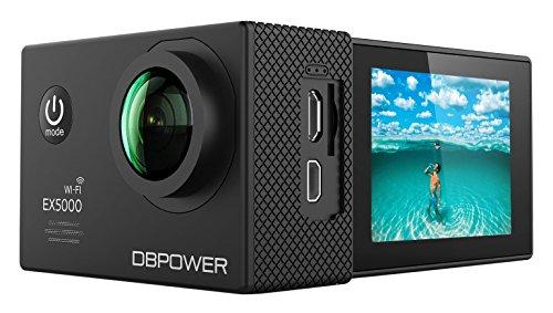 DBPOWER EX5000 Action Cam Wifi Unterwasserkamera 1080P Camera 14MP Ultra Full HD 2,0 Zoll 170 ° Weitwinkel 30 Meter Wasserdicht Kamera  Wasserdicht mit 2 Verbesserten Batterien und 16pcs Zubehör Kits