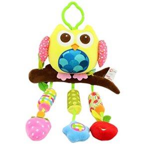 Happy Cherry Muñeca Sonajero Sonaja Colgante Juguete Juego Educativo Peluche de Animales Infantil para Bebés Recién Nacidos Niños Niñas Carrito Cochecito Cuna Infantil Buhó