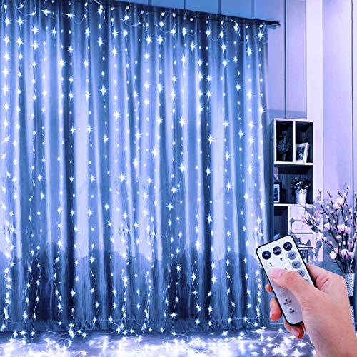 ShinePick Tenda Luminosa, Tenda Catena LED 3 * 3 metro 300 LEDs Luci Stringa Filo di Rame IP65...