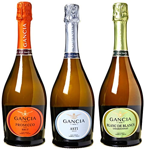 Gancia di Spumante Asti Docg, Chardonnay Blanc De Blancs e Prosecco Brut - 3 Bottiglie