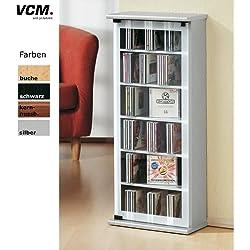 """VCM Regal DVD CD Rack Medienregal Medienschrank Aufbewahrung Holzregal Stand Möbel Schrank Möbel Kern-Nussbaum """"Classic"""""""