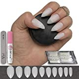 600 Pieces Stiletto Nails 10 Sizes - Medium Full Cover Nails For Salon Use and DIY Nail Art - FREE GLUE & SMALL PREP FILE