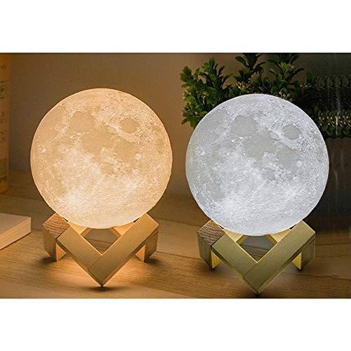 XERGY 10 cm (Small Size) 3D Moon Lamp with Touch Control Adjust Brightness Moon Light with Stand, 2 Colors Led 3D Print Moon Night Light for Diwali Gifts Decoration