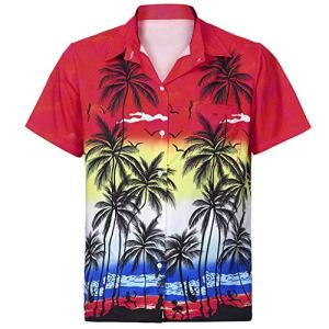 UINGKID-Herren-T-Shirt-Kurzarm-Slim-fit-Mnner-Hawaiihemd-Front-Pocket-Beach-Floral-Bedruckte-Bluse-Top-Tee