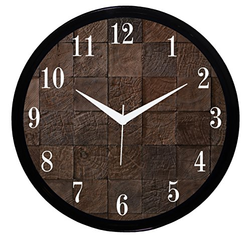 """IT2M 11"""" Round Wooden Look Wall Clock With Glass For Home / Bedroom / Living Room / Kitchen (Non Ticking, Sweeping Movement)"""