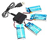 FamilyMall(TM)Drone piezas 4 PCS 3.7V 600mAh de batería Y 1PC Cargador Para Syma Actualiza X5c X5 quadrocopter