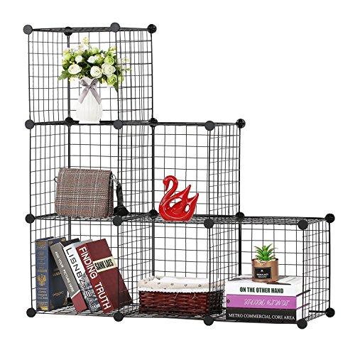 BASTUO 6 cubi DIY Wire mobiletto libreria Ripiani modulari cubi, Armadio per Giocattoli Libri,...