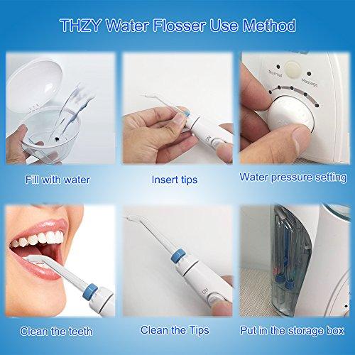 Hydropulseur Jet dentaire avec UV stérilisateur, THZY Professionnel Irrigateur Oral avec 7 Buses de Rechange Rotation 360°, Pression Réglabl... 25