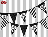 Chic Black and White Happy 30th Birthday Ornament Sign on Polka Dot and Vintage Black Pattern Themed Bunting Banner 12 flags 5Ft for guaranteed simply stylish party decoration by PARTY DECOR