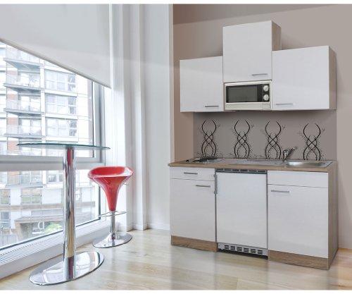 respekta Single Mini Küche Küchenblock 150 cm Eiche sägerau weiss APL Eiche sägerau Nachbildung Mikrowelle Ceran KB 150 ESWMIC