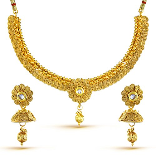 YouBella Fashion Jewellery Party and Wedding wear Gold Plated Necklace Jewellery set with Earrings For Girls/Women