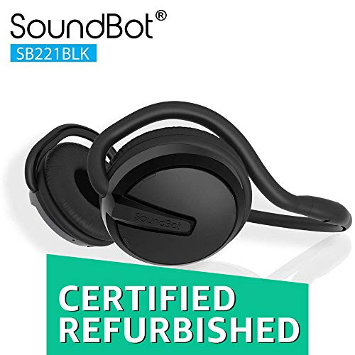 (Renewed) SoundBot SB221 HD Wireless Bluetooth 4.0 Headset Sports-Active Headphone for 20Hrs Music Streaming & 25Hrs HandsFree Calling w/Sweat Resistant Ergonomic Secure-Fit Design & Voice Command Support