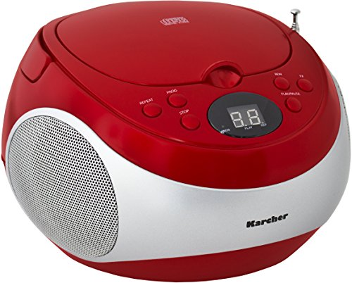 Karcher RR 5020 Cobold tragbares Stereo-CD-Radio (CD-Player, FM-Radio, Batterie/Netzbetrieb, AUX-In) rot/silber
