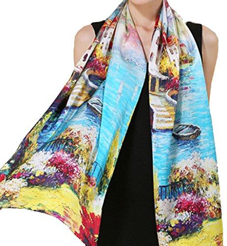 Helan Mujeres Seda natural real 175 X 52 cm Las bufandas largas Lago y pueblo