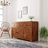 Unitek Furniture Solid Sheesham Wood Free Standing Multipurpose Storage Sideboard Cabinet with 3 Door and 3 Drawer for Living Room Home and Office (Honey Finish)