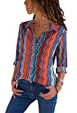 Aleumdr Womens Casual Chiffon Button Down Long Sleeves V Neck for Ladies OL Work Tops Blouse for Women Multicolored Large