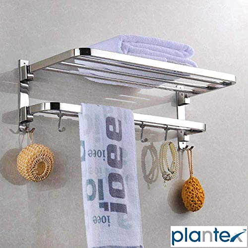 Plantex New Look Stainless Steel 304 Grade Dual Folding Towel Rack for Bathroom/Towel Stand/Hanger/Bathroom Accessories (24 Inch-Chrome)